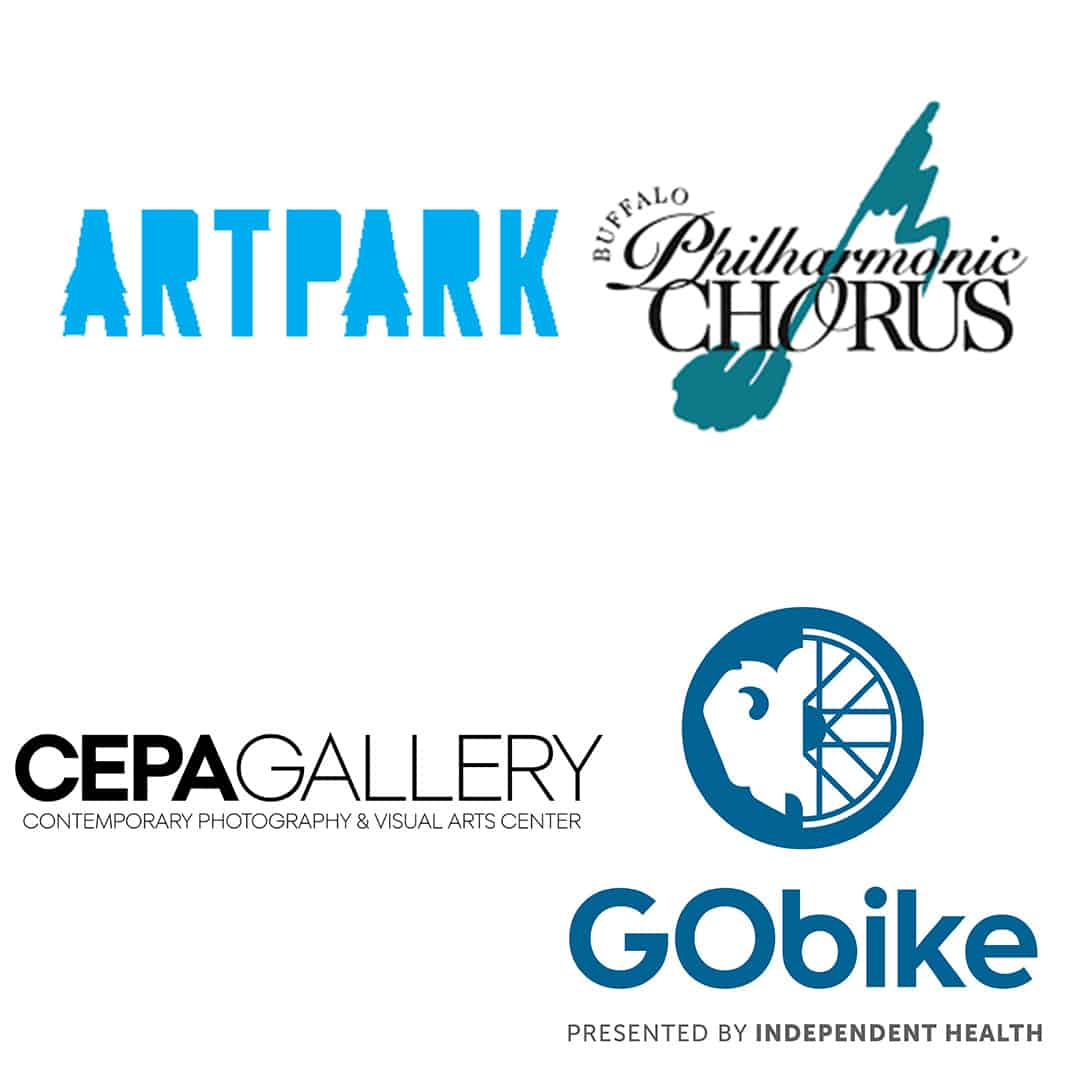 Logos for Artpark, Buffalo Phiharmonic Chorus, CEPA Gallery, GObike
