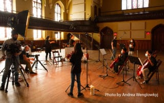 October 2020 Recording with Buffalo String Works. Photo by Andrea Wenglowkyj